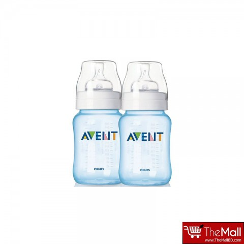 Philips Avent Natural Feeding Bottle Blue 260Ml - 2 Pack
