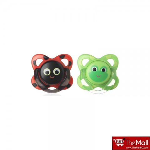 Tommee Tippee Essentials Funky Face Soother 6-12m -2 Pack-Green & Red