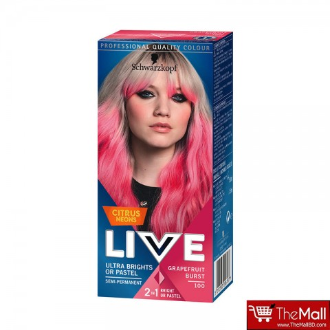 Schwarzkopf Live Ultra Brights Or Pastel Citrus Neons Semi Permanent Hair Colour - 100 Grapefruit Burst