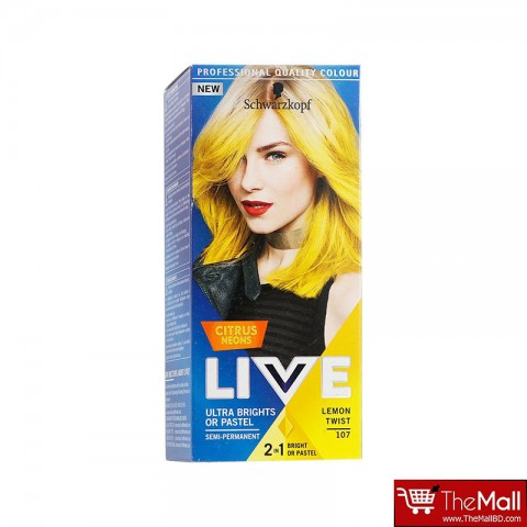 Schwarzkopf Live Ultra Brights Or Pastel Citrus Neons Semi Permanent Hair Colour - 107 Lemon Twist