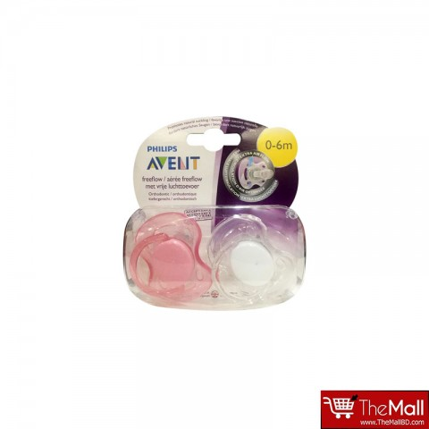 Philips AVENT BPA FreeFlow Soothers 0-6 Months - 2 Pack- White & Pink (9283)