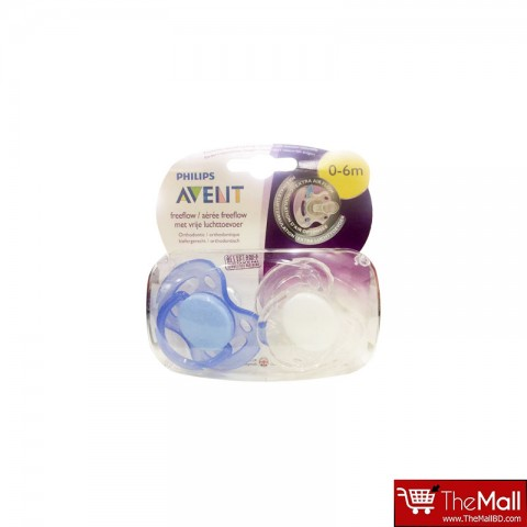 Philips AVENT BPA Free Freeflow Soothers  0-6 Months- 2Pack  - White & Blue (9283)