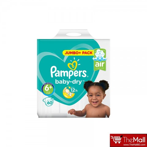 Pampers Baby Dry Belt Up To 12h 6+ (14+ kg) UK 60 Nappies