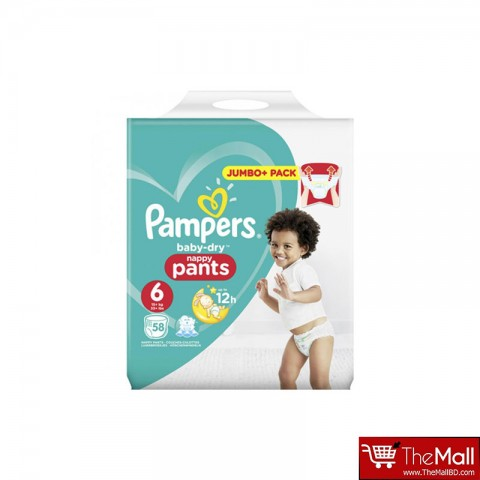Pampers Baby Dry Nappy Pants Up To 12h 6 (15+ kg) UK 58 Nappies