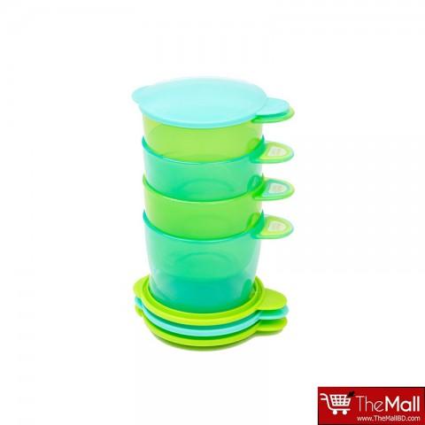 Vital Baby Prep And Go Food Pots ,6m+ 4pk -Blue & Green