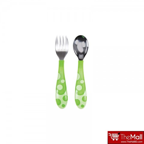 Munchkin Toddler Fork & Spoon Set - Green