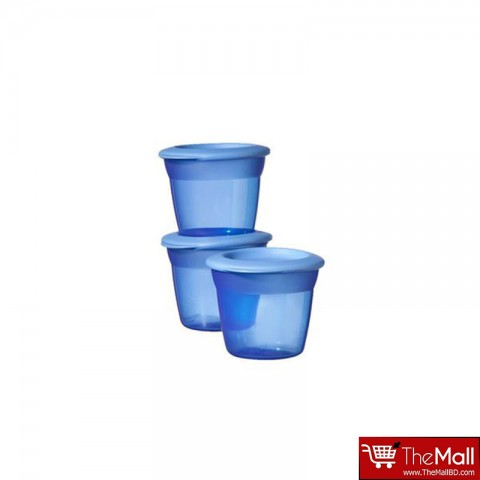 Tommee Tippee Basic Essentials Basic Food Pots 3Pk - Blue
