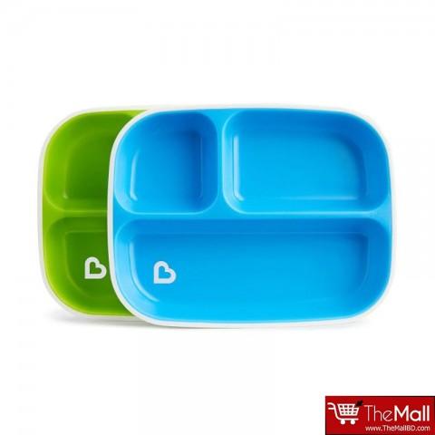 Munchkin Splash 2 Divided Plates, Green- Blue