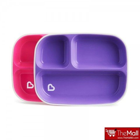 Munchkin Splash 2 Divided Plates Pink-Purple
