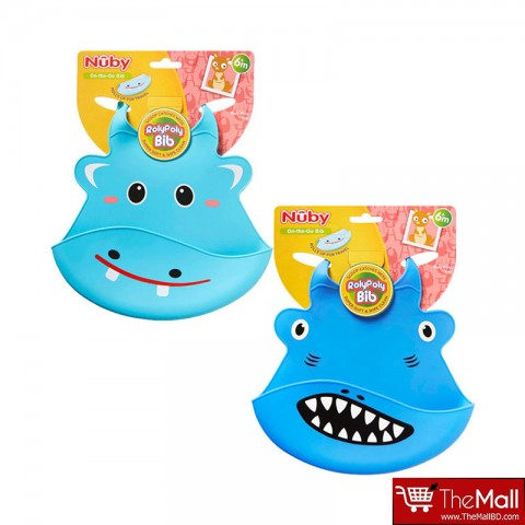 Nuby Roly Poly Animal Face Bib -Navy Blue-6m+