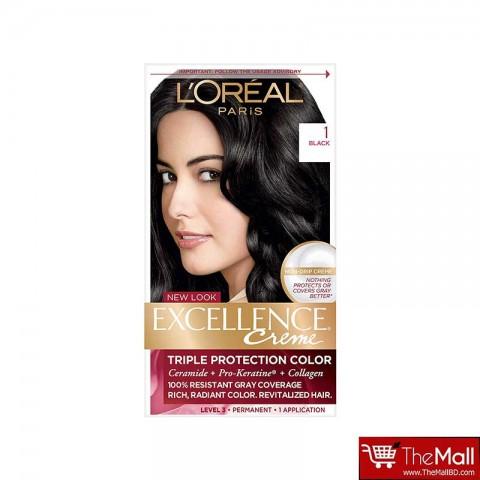 L'oreal Paris Excellence Creme Triple Protection Hair Color - 1 Black