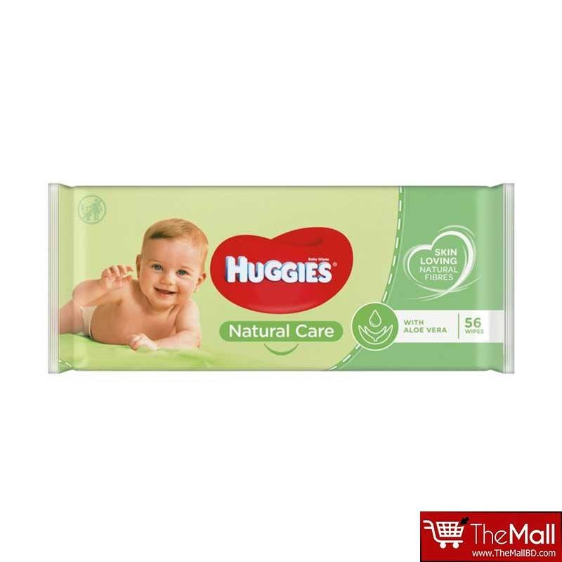 Huggies Natural Care Baby Fresh Wipes with Aloe Vera - 56 Wipes