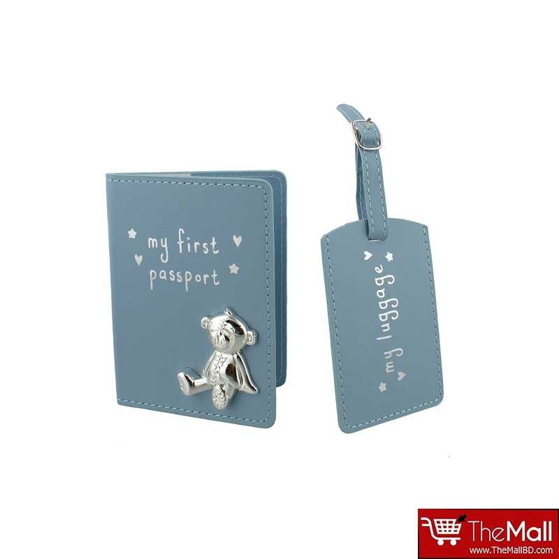 Button Corner PU My First Passport And Luggage Tag -Blue