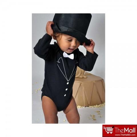 Rockabye Baby Tuxedo Long Sleeve Black Bodysuit 6-12m