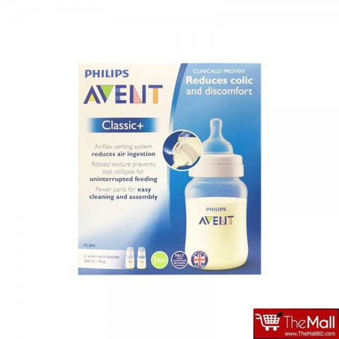 Philips Avent Classic+ Bottle 260ml 2pk-1m+