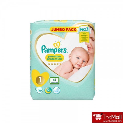 Pampers Premium Protection 12h 1 (2-5 Kg) 72 Nappies