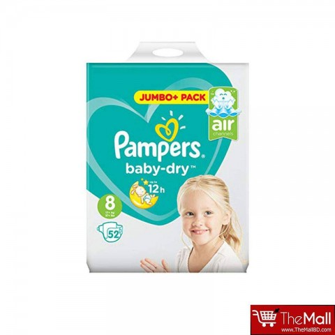 Pampers Baby Dry Belt Up To 12h 8 (17+ kg) UK 52 Nappies