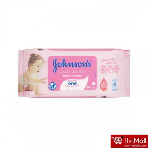 Johnsons Gentle All Over Baby Wipes, 56 Wipes