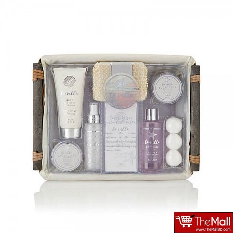 Style & Grace La Villa Sea Salt & Driftwood Home Spa Hamper Gift Set 11 Pieces (8224)