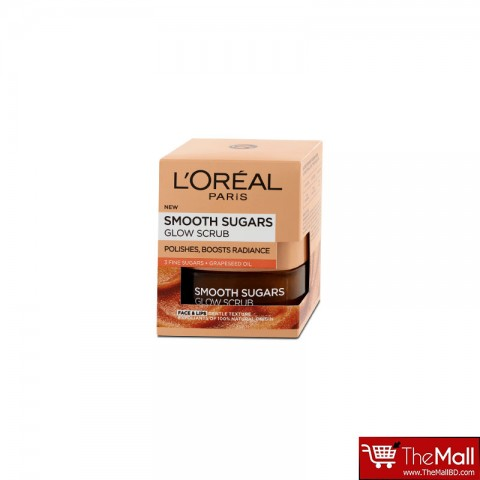 L'Oreal Paris Smooth Sugars Glow Grapeseed Oil Face and Lip Scrub 50 ml