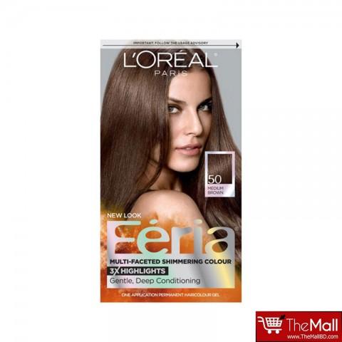 L'oreal Feria Multi Faceted Shimmering Colour - 50 Medium Brown