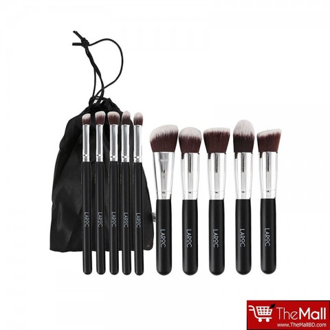 LaRoc 10 Piece Kabuki Makeup Brush Cosmetic Set Kit