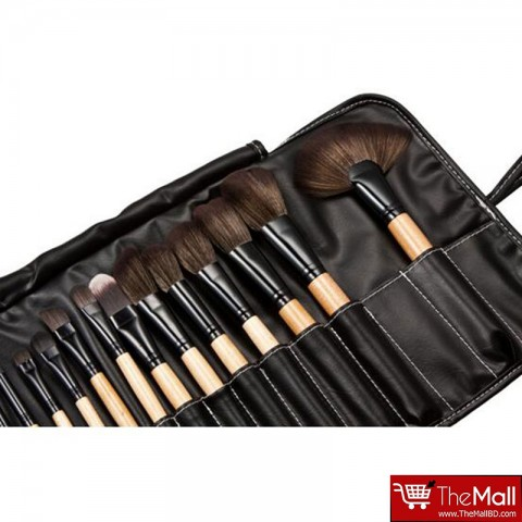Lilyz Makeup Brush Set Black 24Pcs - Natural Wood (3022)