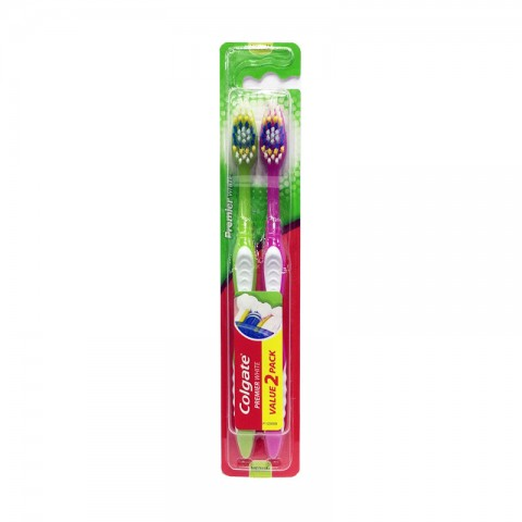 Colgate  Toothbrush Premier  White 2pack Medium - Pink & Green