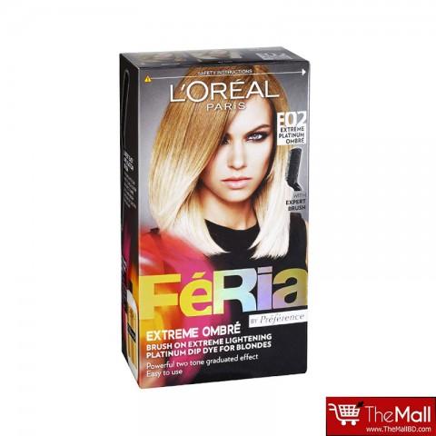 L'oreal Paris Feria Extreme Ombre Hair Colour- E02 Extreme Platinum Ombre