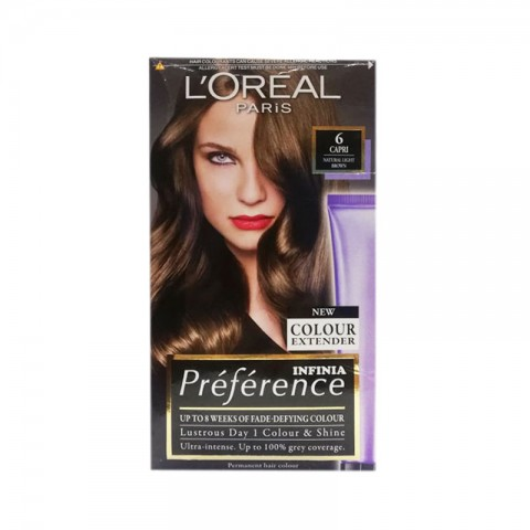 Loreal Infinia Preference New Colour Extender Permanent Hair Colour  - 6 Capri Natural Light Brown