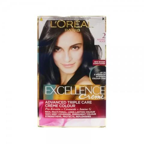 L'oreal Paris Excellence Creme Hair Colour - 2 Natural Black