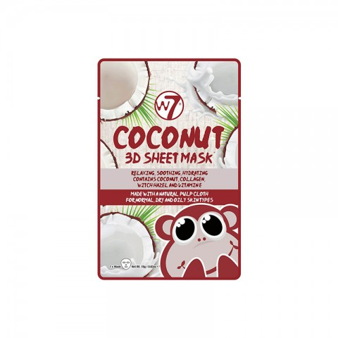 W7 Coconut 3D Sheet Mask For Normal Dry And Oily Skin Types 18g