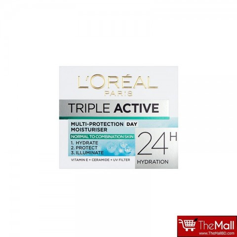L'Oreal Paris Triple Active Day Multi Protection Moisturiser Normal and Combination Skin 50ml