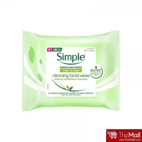 Simple Kind To Skin Cleansing Facial Wipes Sensitive Skin 25 Wipes
