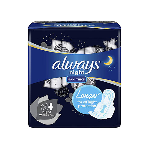 Always Night Maxi Thick Sanitary Pads With Night Wings 8 Pads