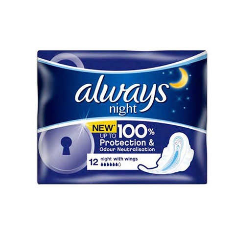 Always Night Up To Protection & Odour Neutralisation Sanitary Pads - 12 Pads