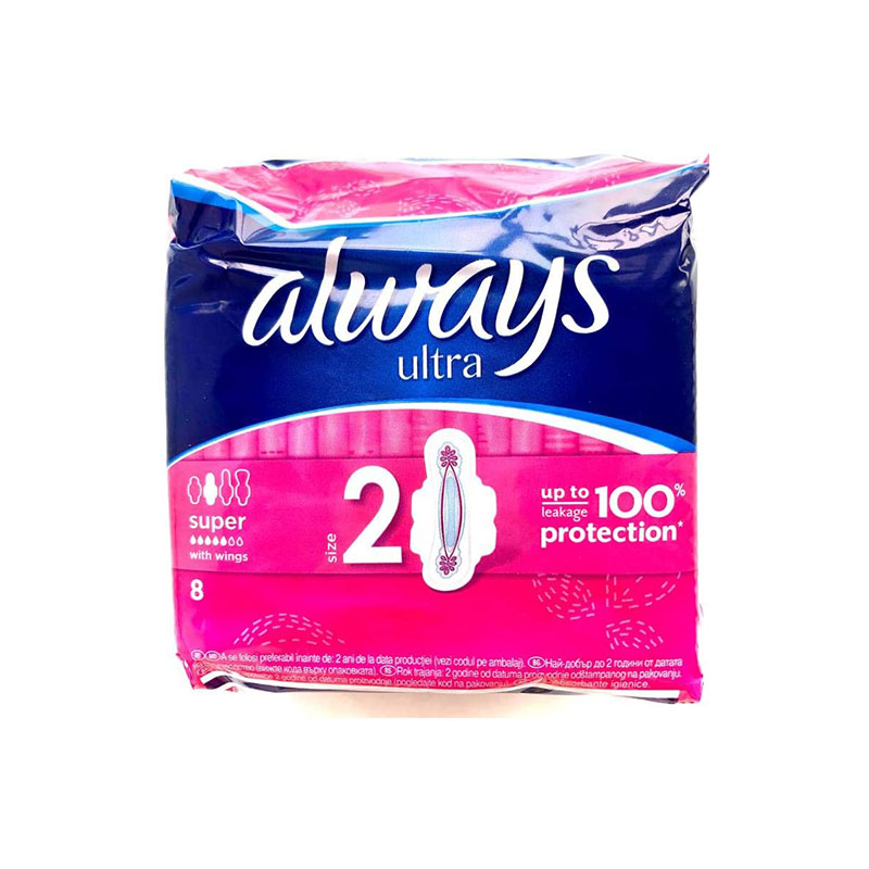 Always Ultra Super With Wings 8 Pads - Size 2