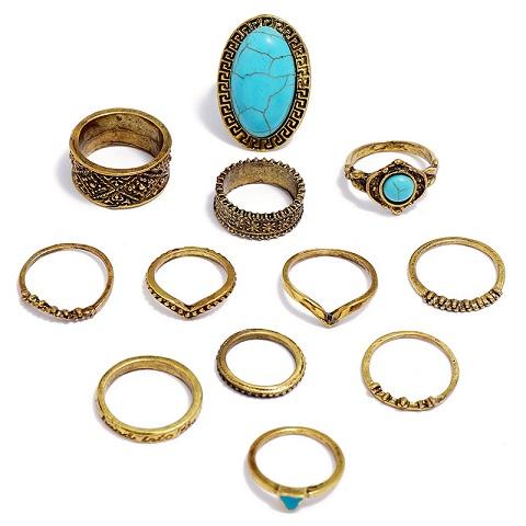 Antique Golden Turquoise Totem Carved Boho Midi Knuckle Ethnic Ring Set - 12pcs