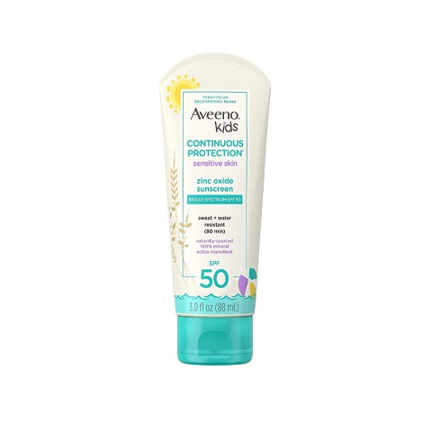 Aveeno Kids Continuous Protection Zinc Oxide Sunscreen 88ml - SPF 50
