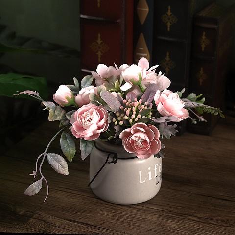 Beautiful Ceramic Potted Home Decor Silk Flower Vase (20165)