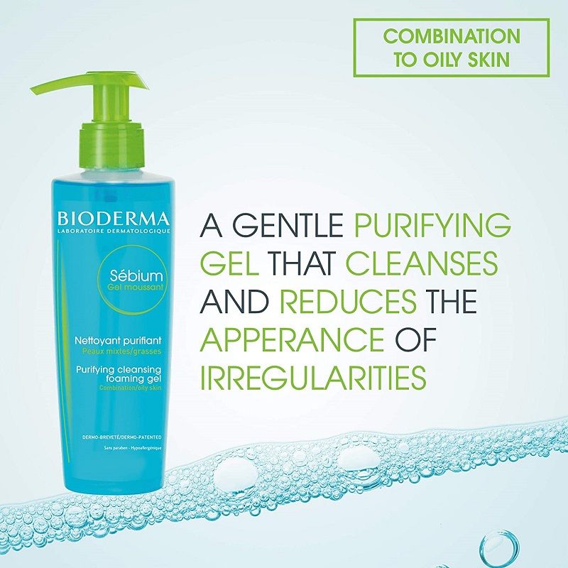 Bioderma Sebium Gel Moussant Purifying Cleansing Foaming Gel for Combination to Oil Skin 200ml