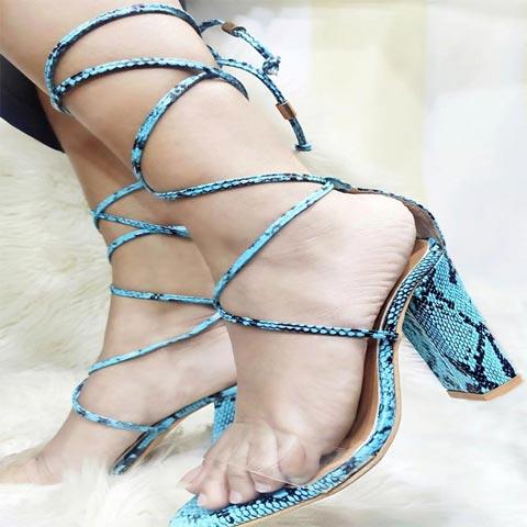 Blue Snakeskin High Heel Sandals for Women