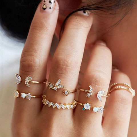 Butterfly Flower Retro Crystal Ring Set - 7pcs (20144)