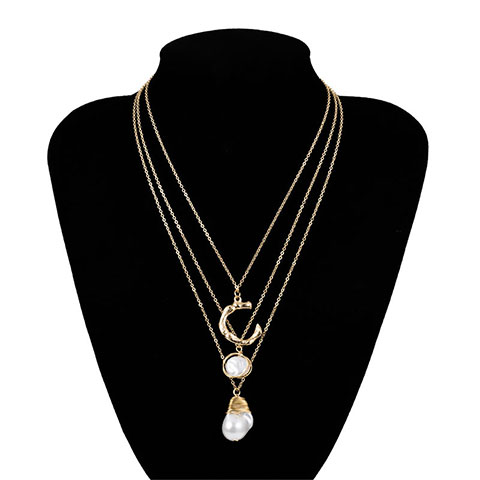 C Letter Shaped Pearl Pendant Necklace