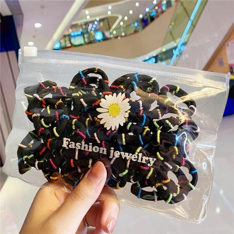 Candy Colors Nylon Hair Rubber Bands - Black (20143)