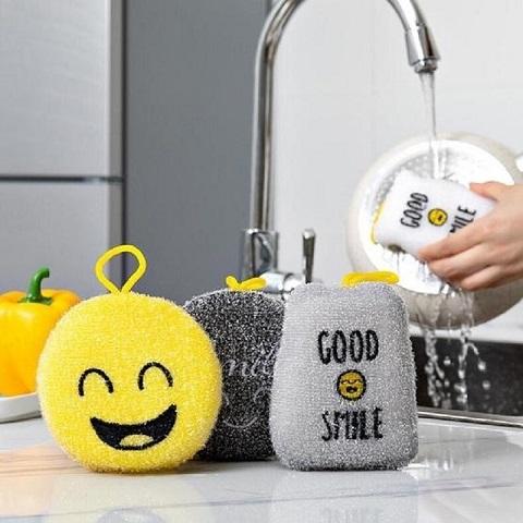 Cartoon Smiley Dishwashing Sponge Wipe Double-Sided Scouring Pad Set - 4 Pieces (20192)