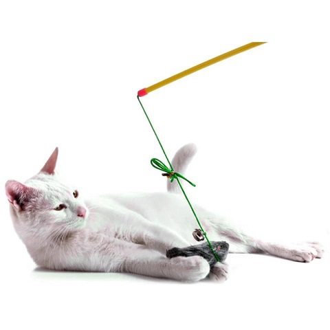 Cat Toy Fishing Rod Mouse Funny Cat Stick - Yellow (20231)