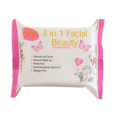 Cherish 3 In 1 Facial Beauty Cleansing Wipes - 25 Wipes