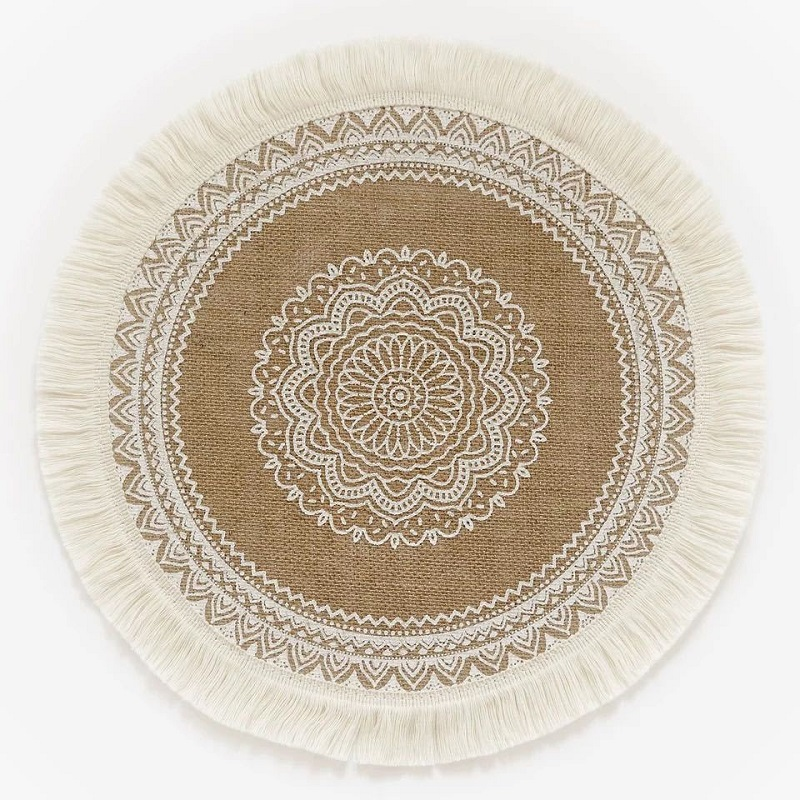 Classic Round Jute Dining Table Mat - White (1001102)