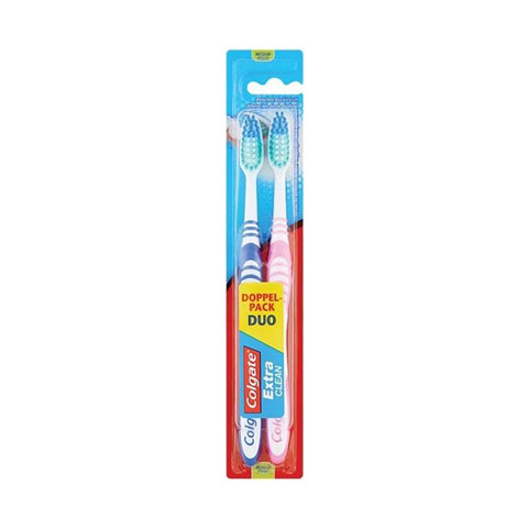 Colgate Extra Clean Medium Toothbrush Duo Pack - Blue & Pink